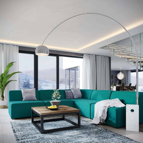 Mingle 5 Piece Upholstered Fabric Armless Sectional Sofa Set in Teal