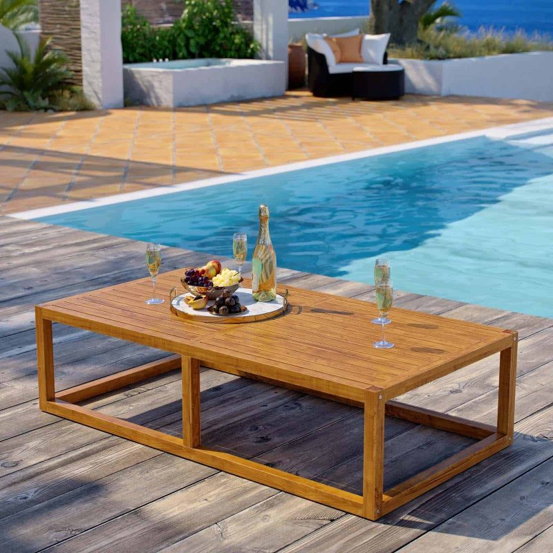 Newbury Outdoor Patio Premium Grade A Teak Wood Coffee Table in Natural