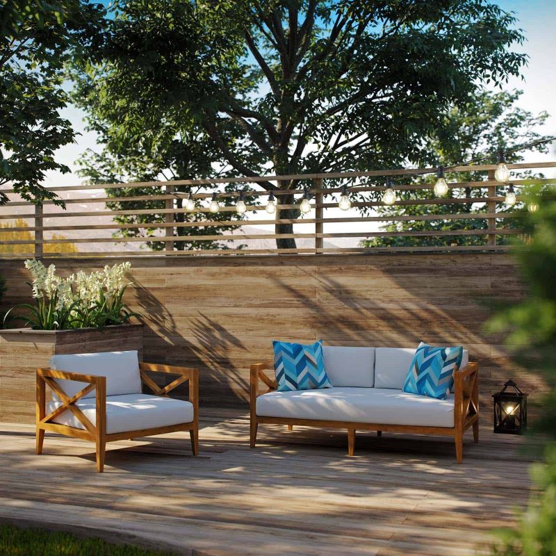 Northlake 2 Piece Outdoor Patio Premium Grade A Teak Wood Set in Natural White