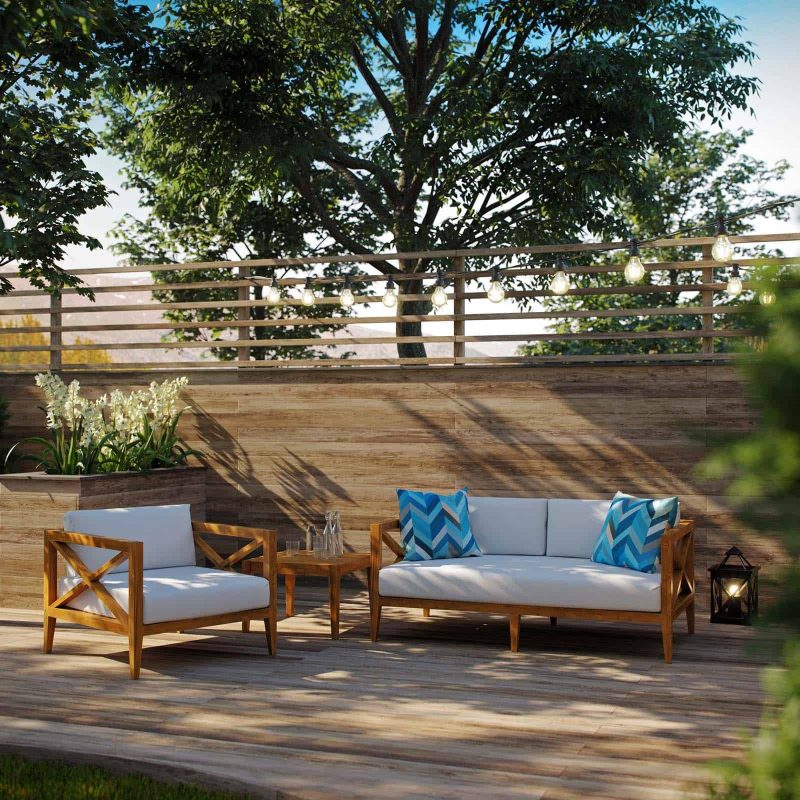 Northlake 3 Piece Outdoor Patio Premium Grade A Teak Wood Set in Natural White