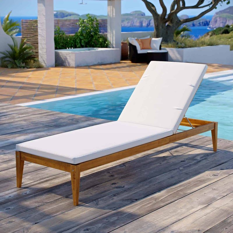 Northlake Outdoor Patio Premium Grade A Teak Wood Chaise Lounge in Natural White