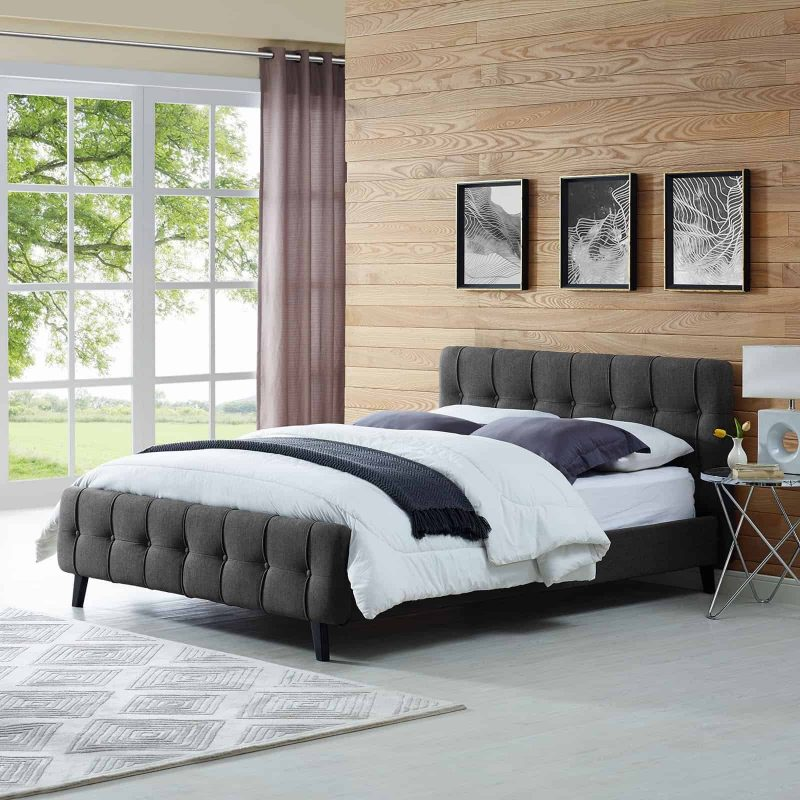 Ophelia Queen Fabric Bed in Gray