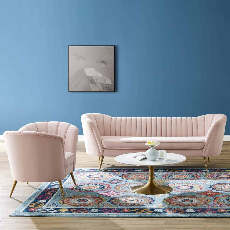 Opportunity Performance Velvet Sofa and Armchair Set in Pink