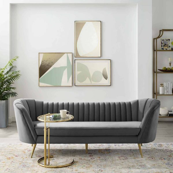 Opportunity Vertical Channel Tufted Curved Performance Velvet Sofa in Gray