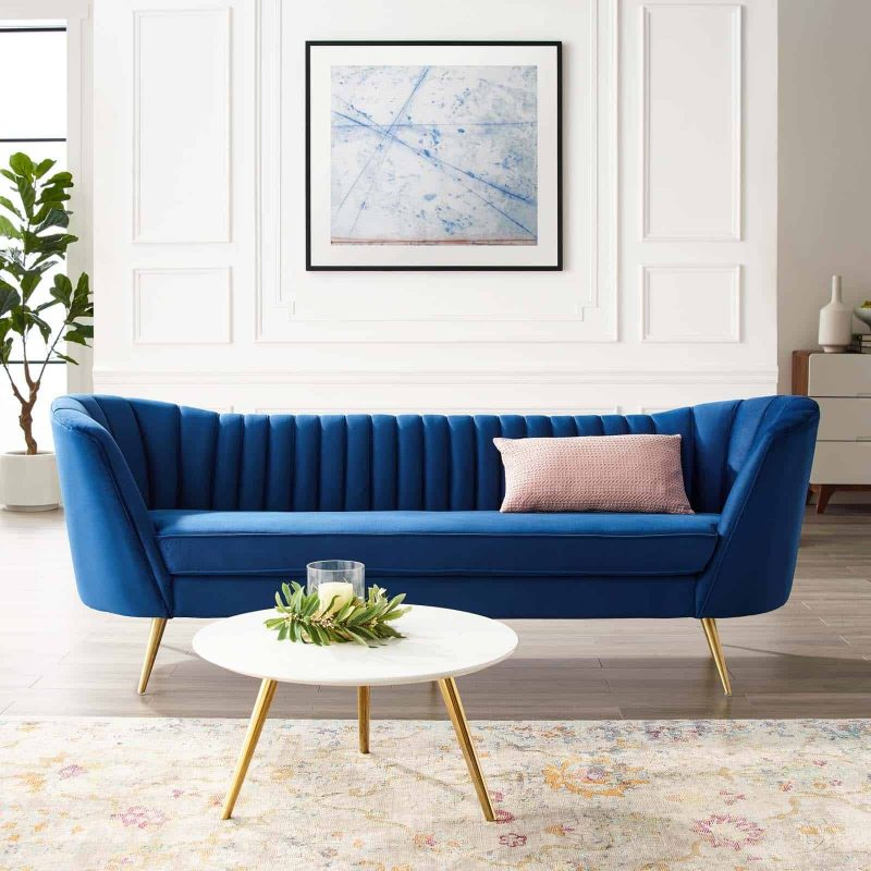 Opportunity Vertical Channel Tufted Curved Performance Velvet Sofa in Navy