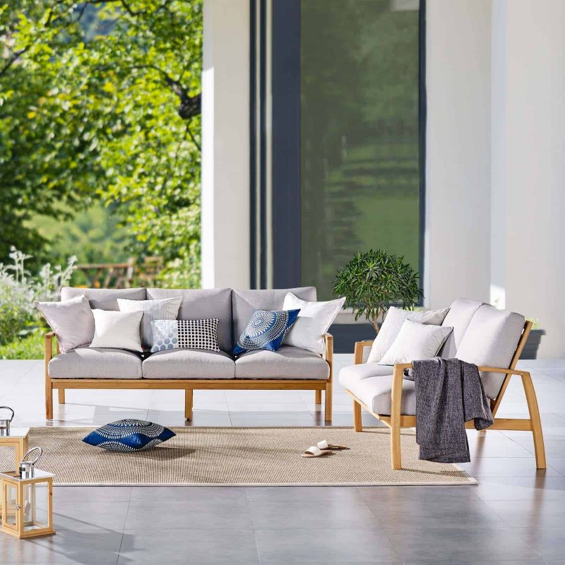 Orlean Outdoor Patio Eucalyptus Wood Sofa and Loveseat Set in Natural Light Gray
