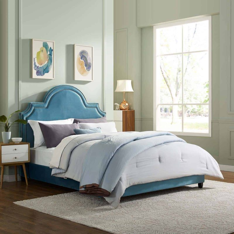 Primrose Queen Performance Velvet Platform Bed in Sea Blue