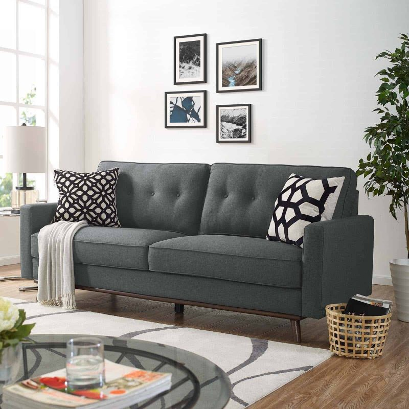 Prompt Upholstered Fabric Sofa in Gray
