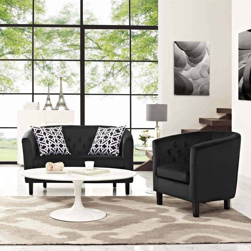 Prospect 2 Piece Performance Velvet Loveseat and Armchair Set in Black