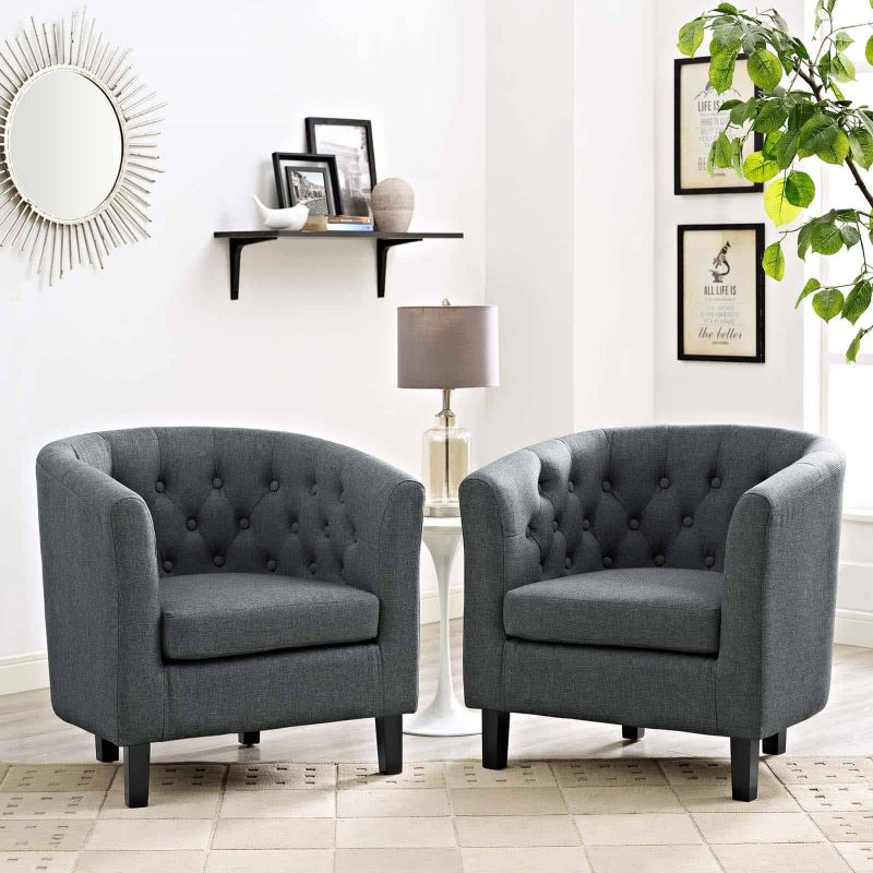 Prospect 2 Piece Upholstered Fabric Armchair Set in Gray