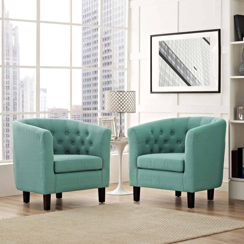 Prospect 2 Piece Upholstered Fabric Armchair Set in Laguna