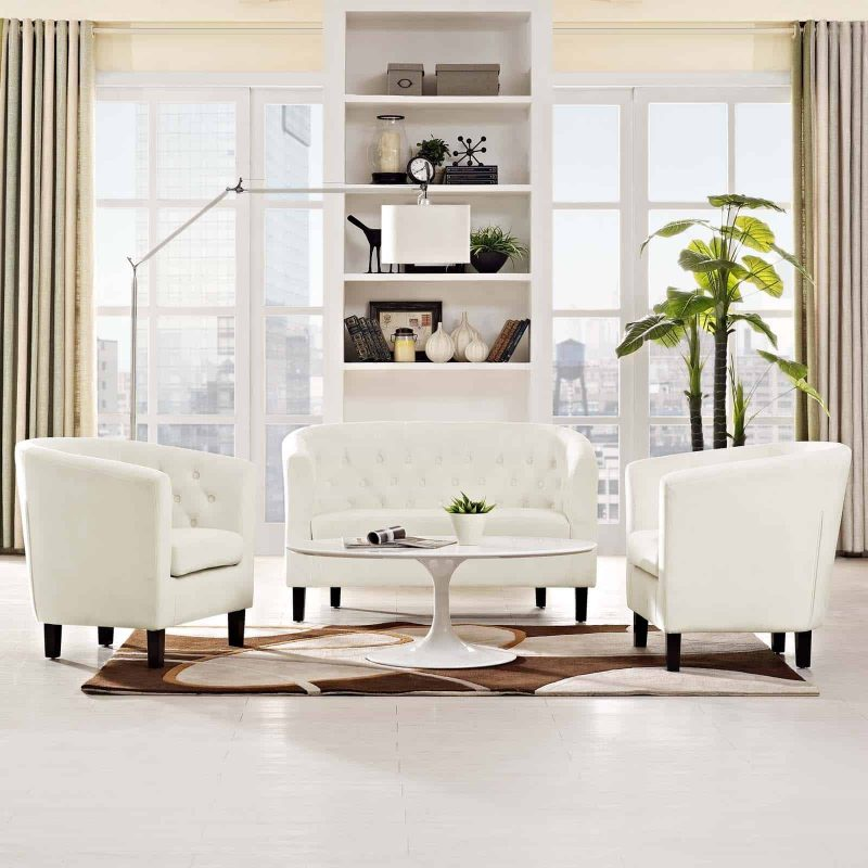 Prospect 3 Piece Performance Velvet Loveseat and Armchair Set in Ivory