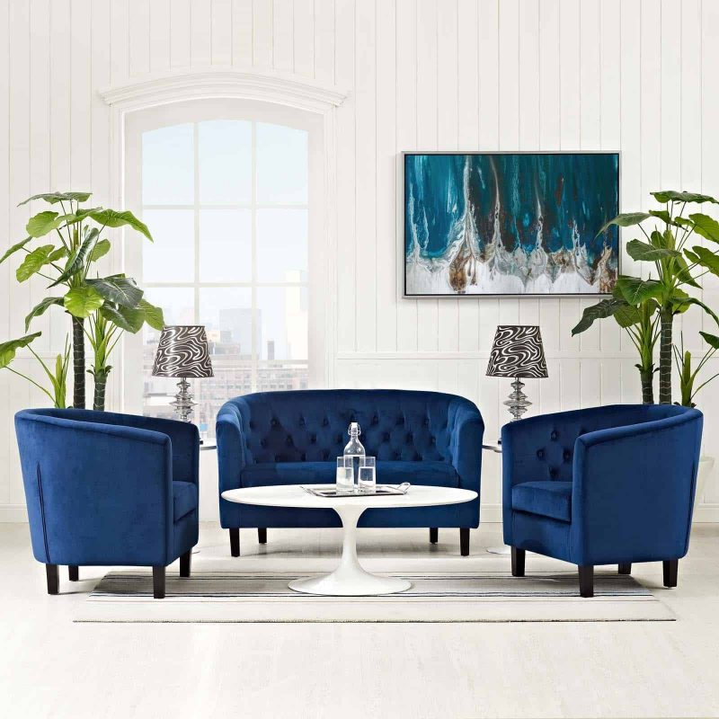 Prospect 3 Piece Performance Velvet Loveseat and Armchair Set in Navy