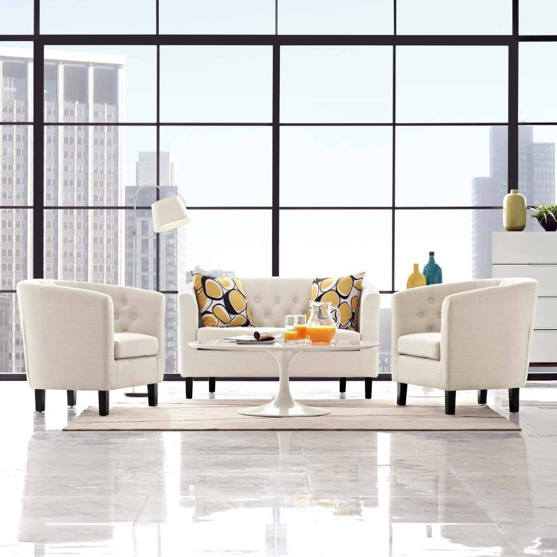 Prospect 3 Piece Upholstered Fabric Loveseat and Armchair Set in Beige