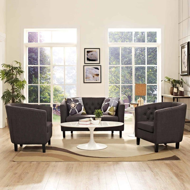 Prospect 3 Piece Upholstered Fabric Loveseat and Armchair Set in Brown