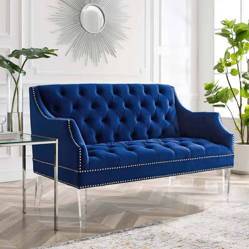 Proverbial Tufted Performance Velvet Loveseat in Navy