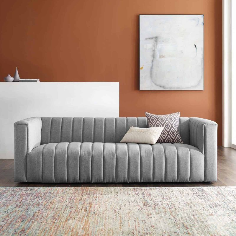 Reflection Channel Tufted Upholstered Fabric Sofa in Light Gray