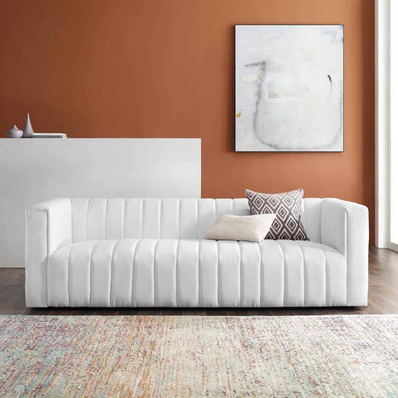 Reflection Channel Tufted Upholstered Fabric Sofa in White
