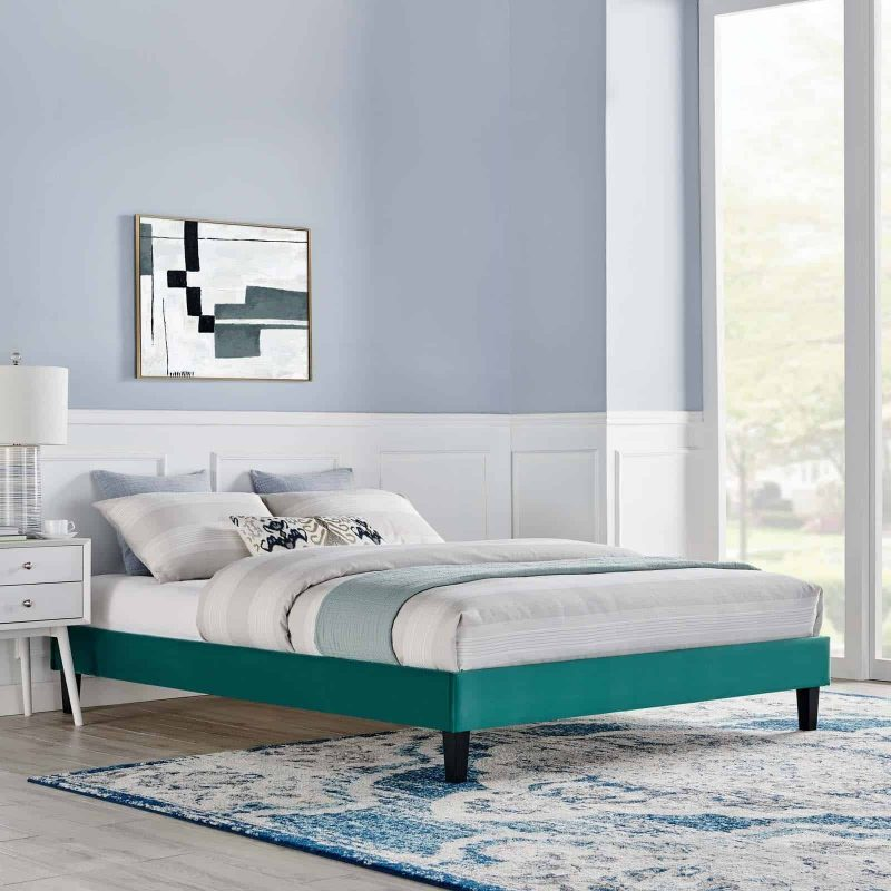 Reign Full Performance Velvet Platform Bed Frame in Teal