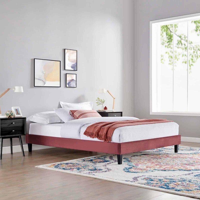 Reign King Performance Velvet Platform Bed Frame in Dusty Rose
