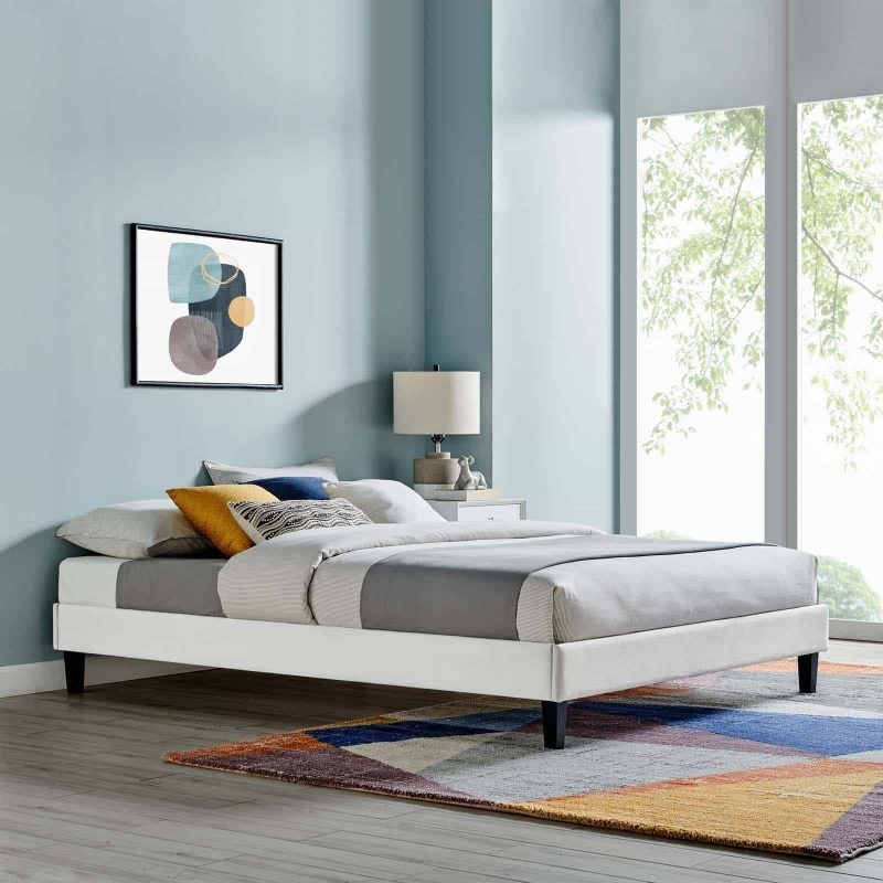 Reign Queen Performance Velvet Platform Bed Frame in Light Gray