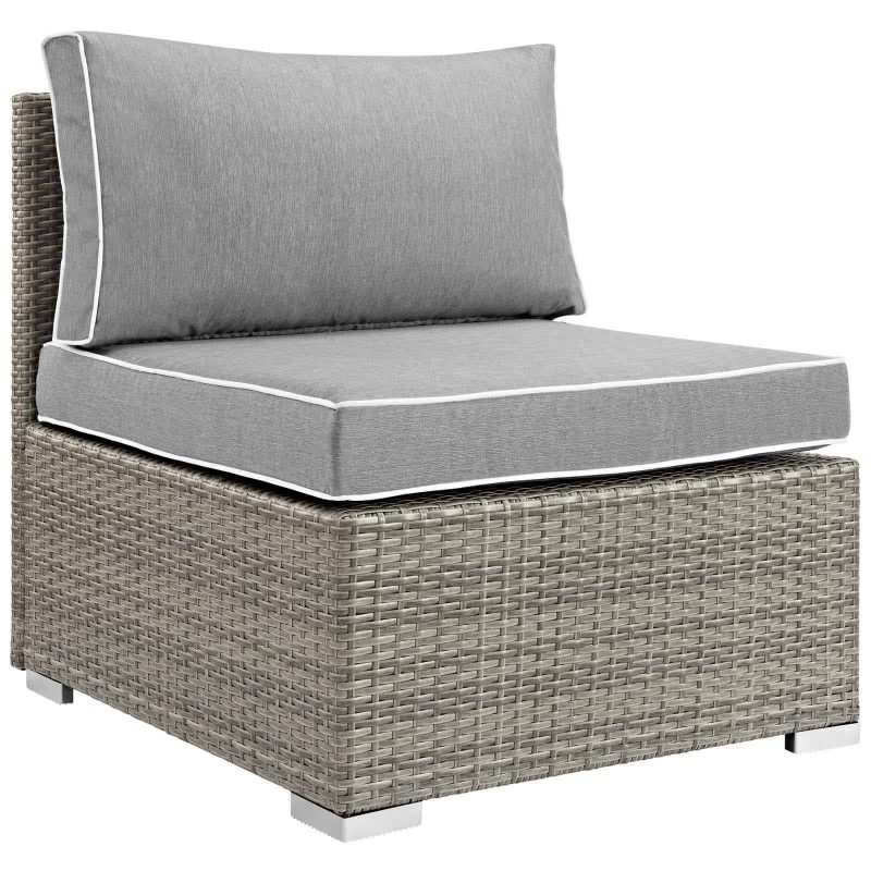 Repose Outdoor Patio Armless Chair in Light Gray Gray
