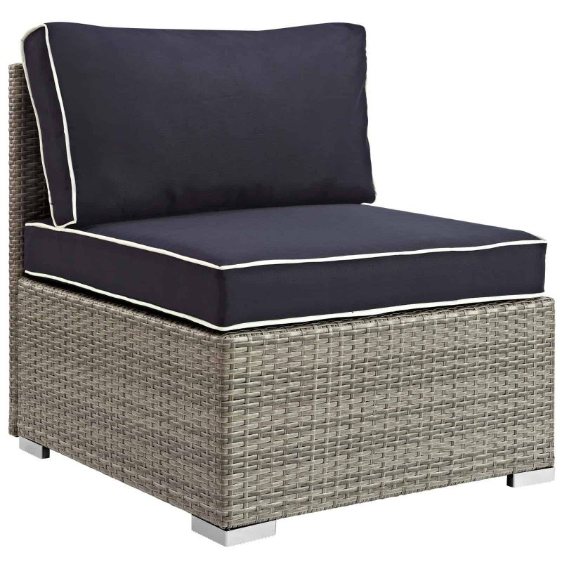 Repose Outdoor Patio Armless Chair in Light Gray Navy