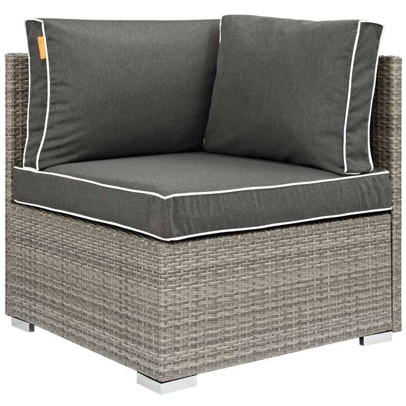 Repose Outdoor Patio Corner in Light Gray Charcoal