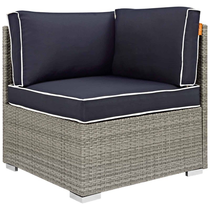 Repose Outdoor Patio Corner in Light Gray Navy