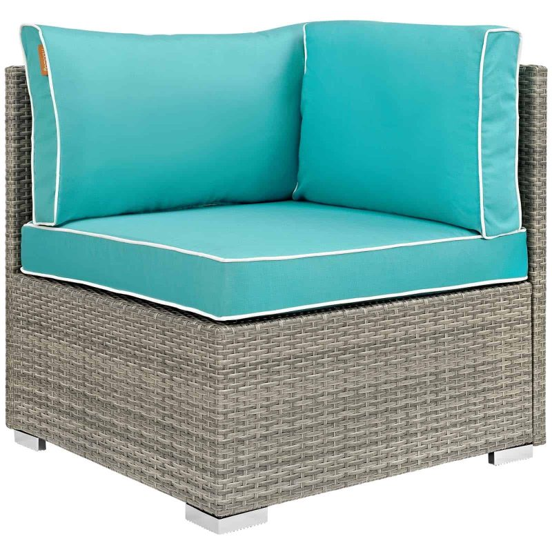 Repose Outdoor Patio Corner in Light Gray Turquoise
