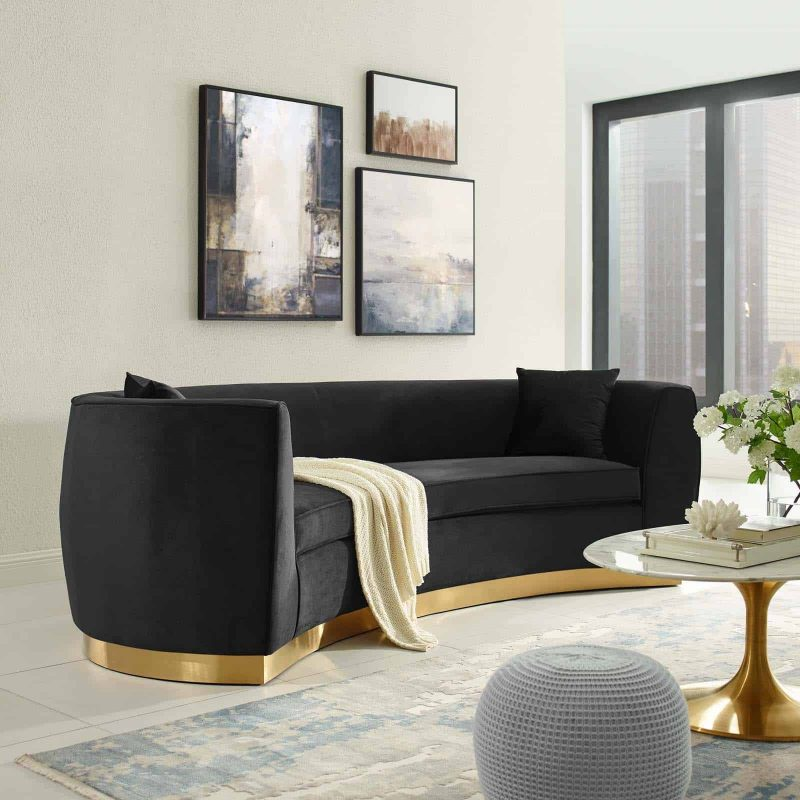Resolute Curved Performance Velvet Sofa in Black