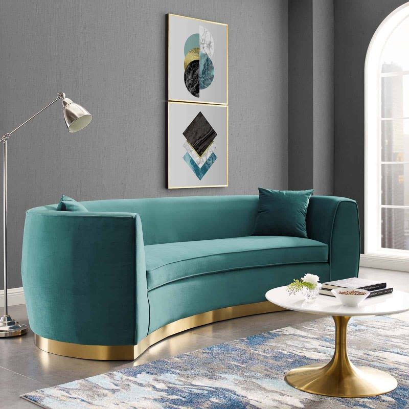 Resolute Curved Performance Velvet Sofa in Teal