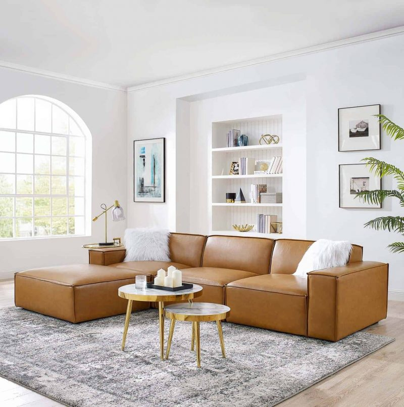 Restore 4-Piece Vegan Leather Sectional Sofa in Tan