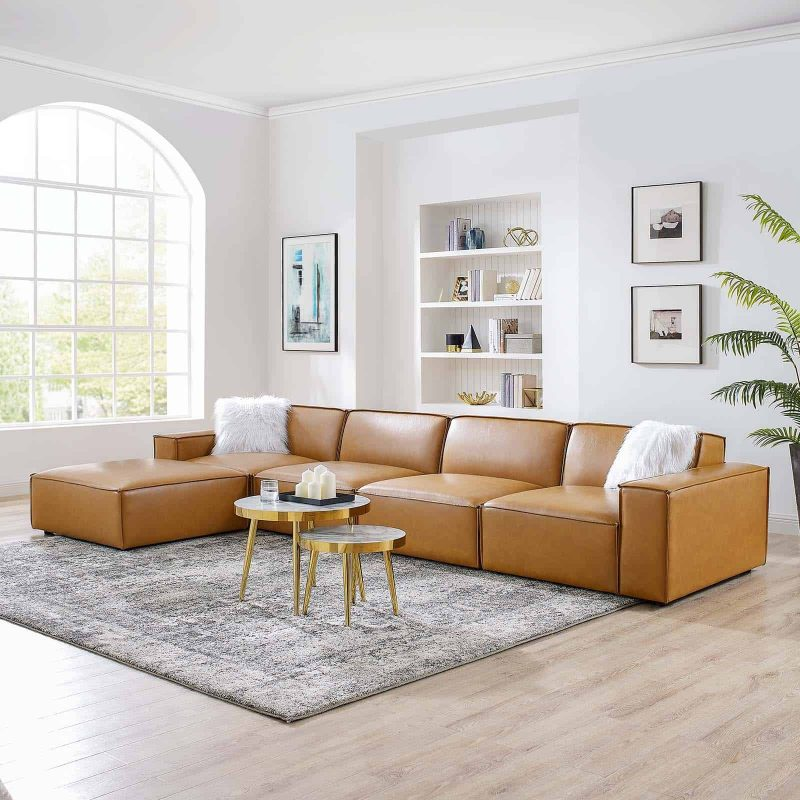 Restore 5-Piece Vegan Leather Sectional Sofa in Tan