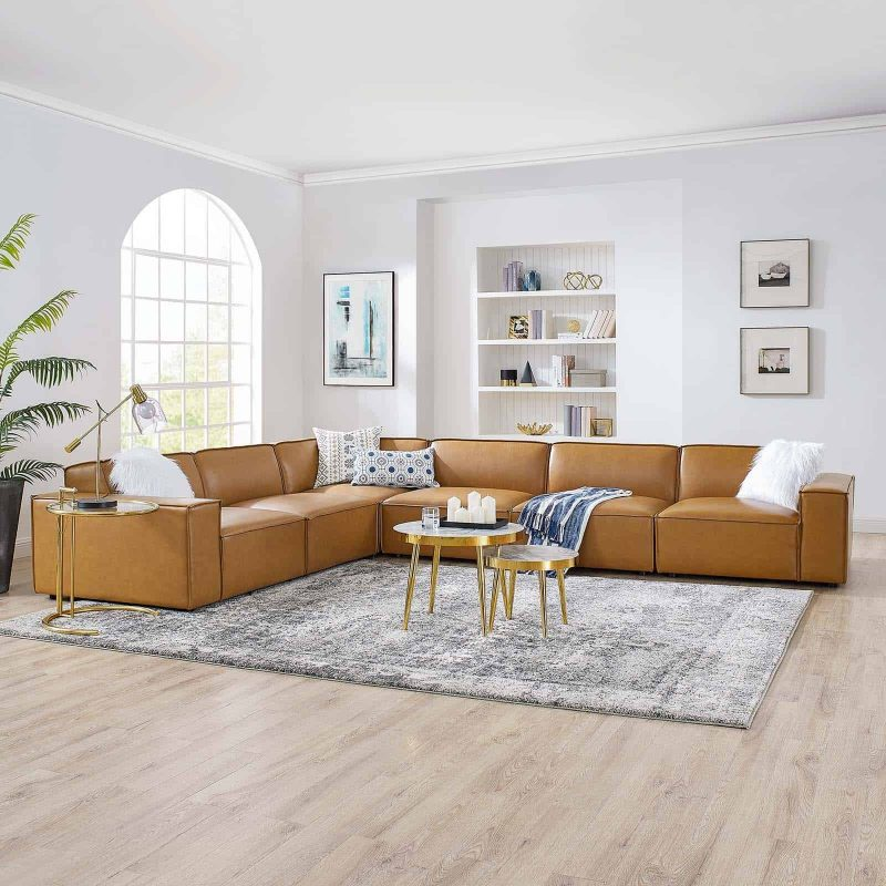 Restore 6-Piece Vegan Leather Sectional Sofa in Tan