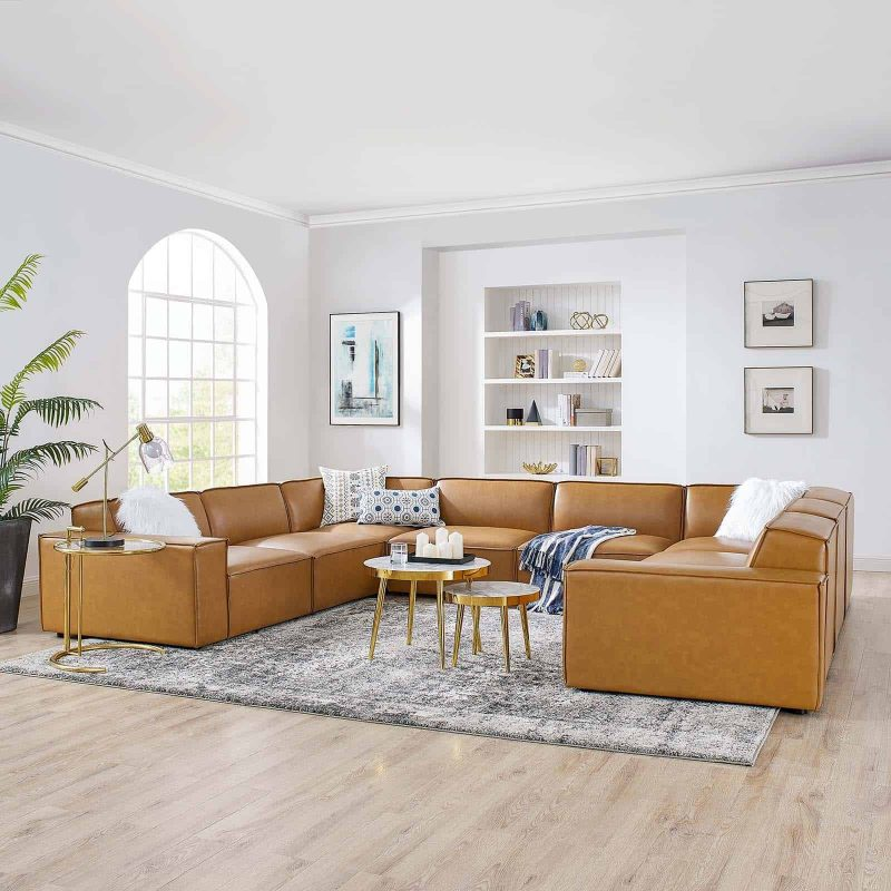 Restore 8-Piece Vegan Leather Sectional Sofa in Tan