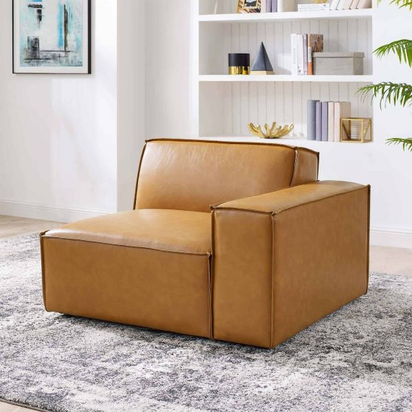 Restore Left-Arm Vegan Leather Sectional Sofa Chair in Tan