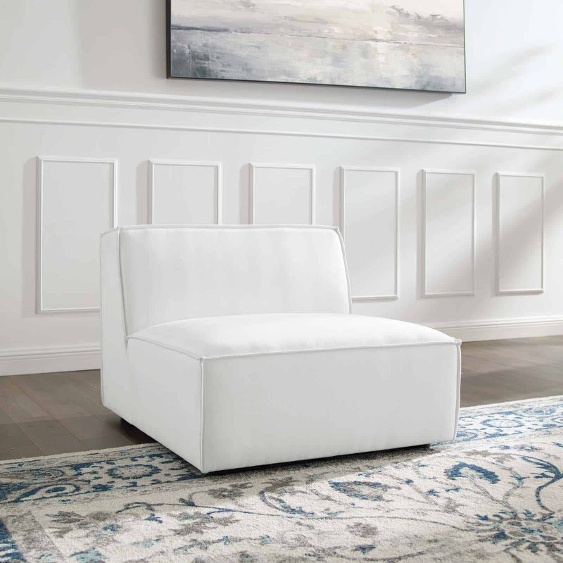 Restore Sectional Sofa Armless Chair in White