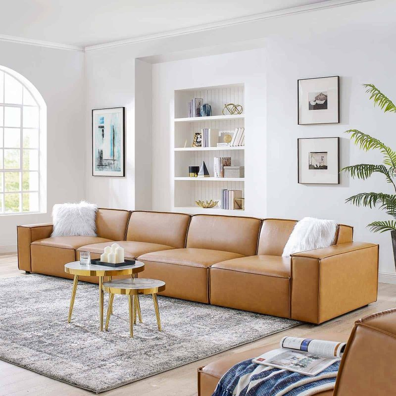 Restore Vegan Leather 4-Piece Sofa in Tan