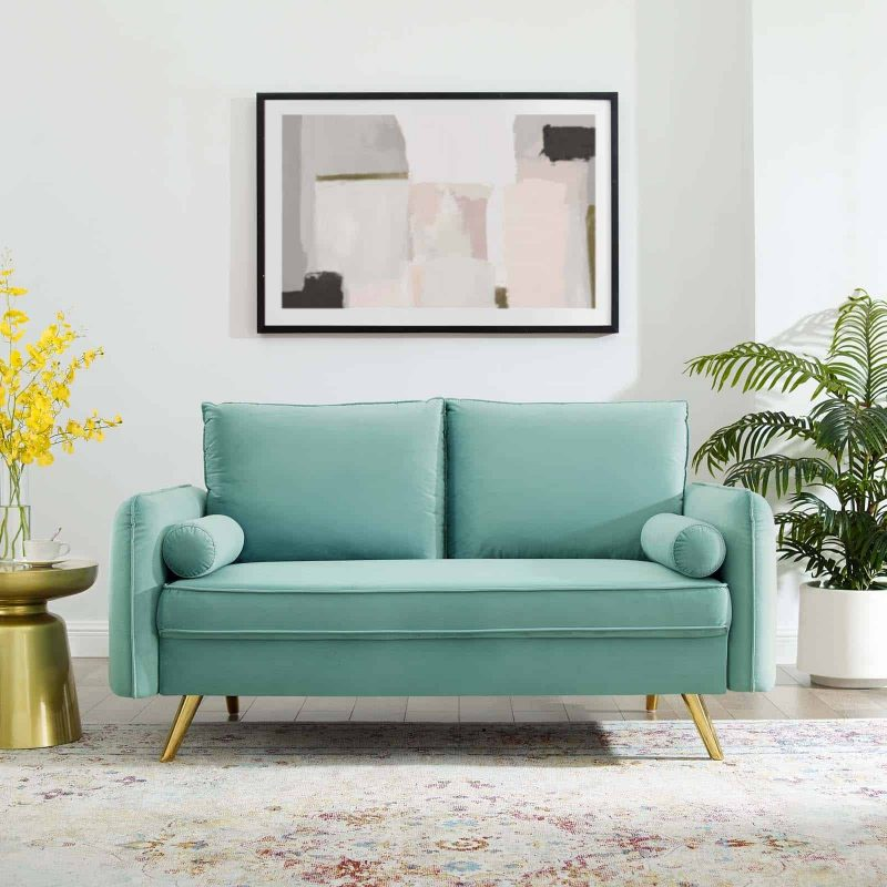 Revive Performance Velvet Loveseat in Mint