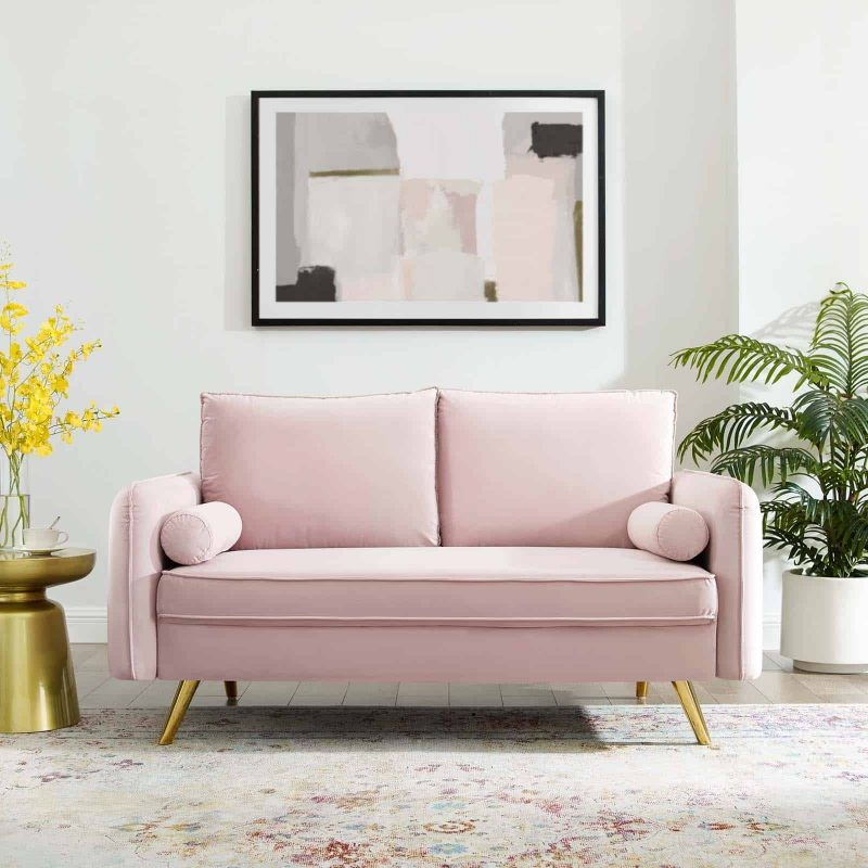 Revive Performance Velvet Loveseat in Pink