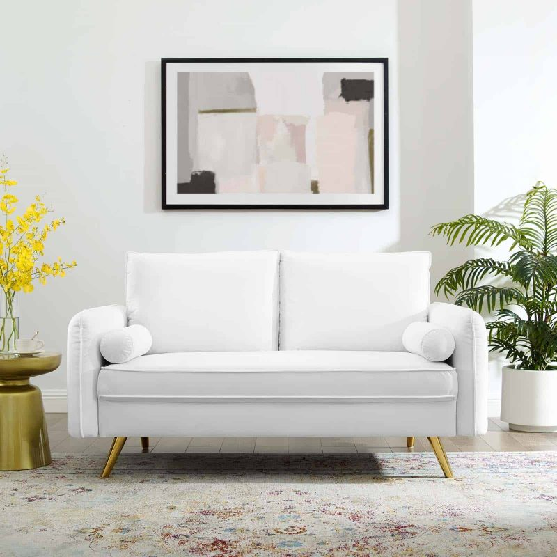 Revive Performance Velvet Loveseat in White