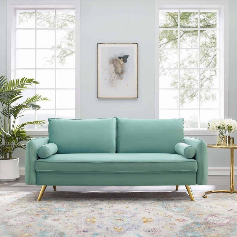 Revive Performance Velvet Sofa in Mint