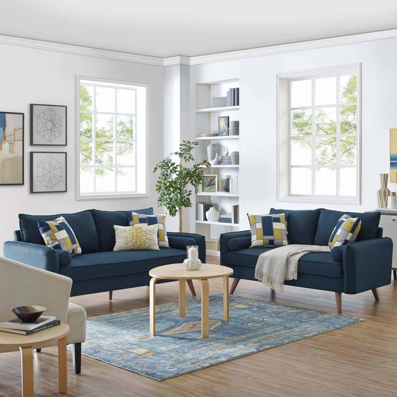 Revive Upholstered Fabric Sofa and Loveseat Set in Azure