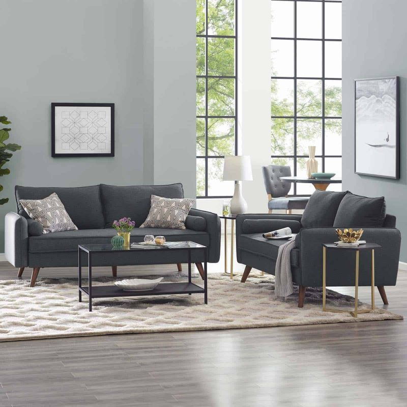 Revive Upholstered Fabric Sofa and Loveseat Set in Gray