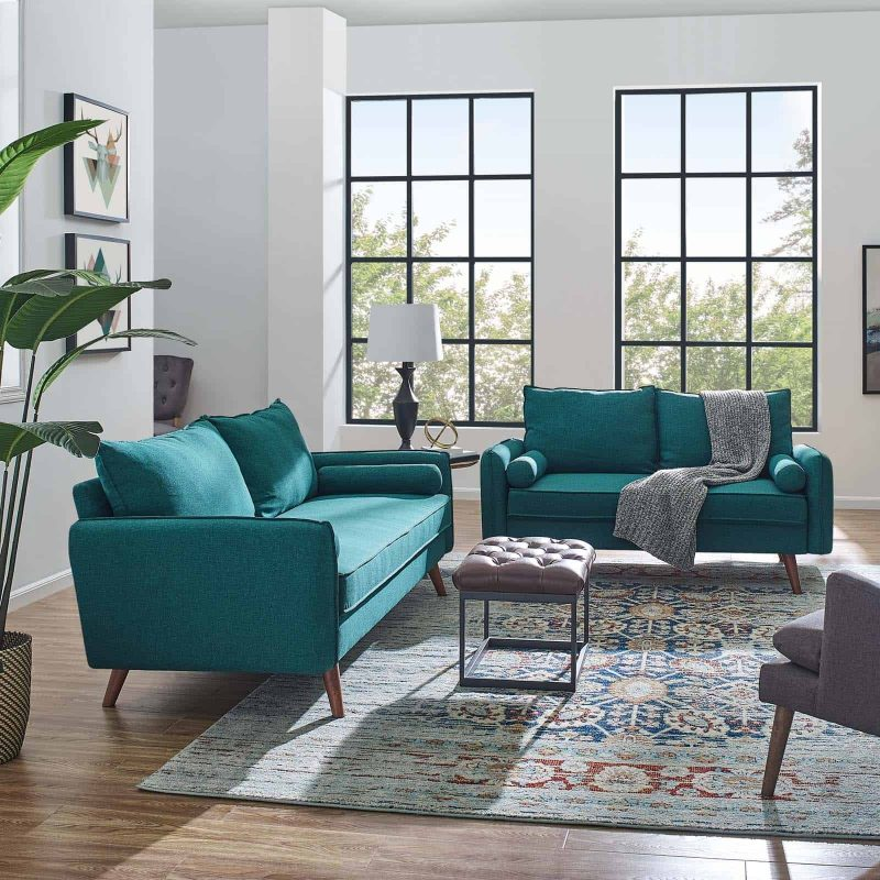 Revive Upholstered Fabric Sofa and Loveseat Set in Teal