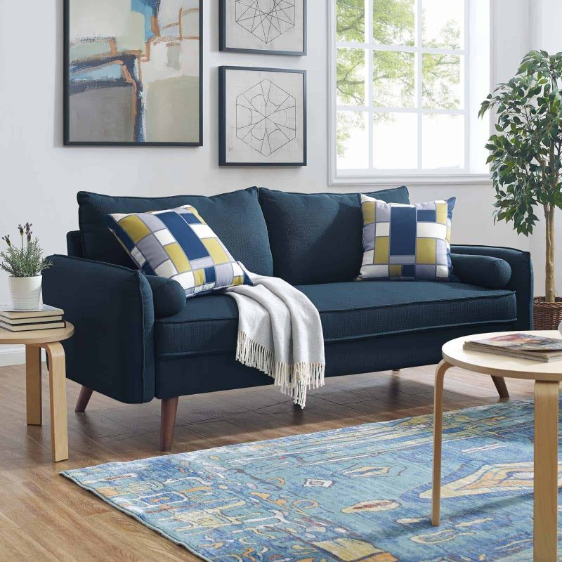 Revive Upholstered Fabric Sofa in Azure