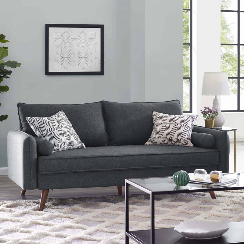 Revive Upholstered Fabric Sofa in Gray