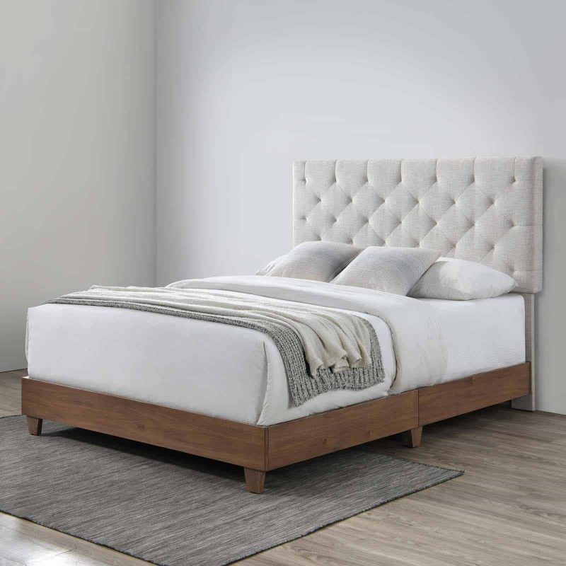 Rhiannon Diamond Tufted Upholstered Fabric Queen Bed in Walnut Beige