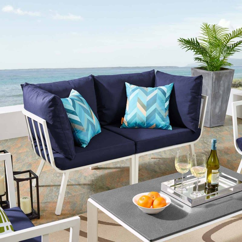 Riverside 2 Piece Outdoor Patio Aluminum Sectional Sofa Set in White Navy